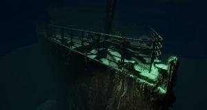 Der Bug der Titanic am Meeresgrund als Screnshot aus Titanic VR