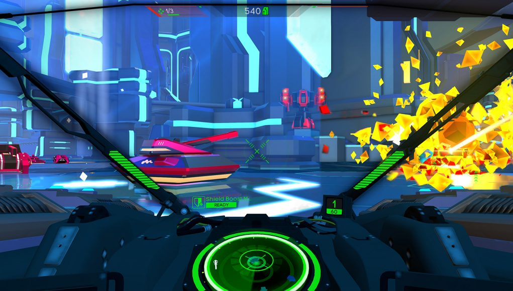 Battlezone-Screenshot aus der Cockpit-Perspektive